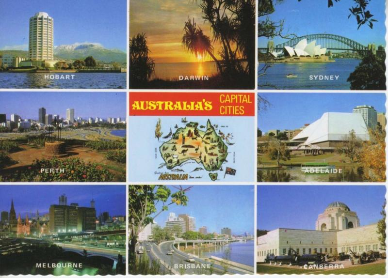 Australia AU Capital Cities Multiview Unused Postcard D15