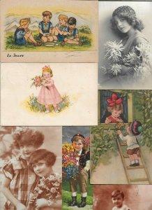 Beautiful Kids Flowers Vintage Postcard Lot of 20   01.16