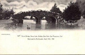 California San Francisco Golden Gate Park Stow Lake Stone Bridge