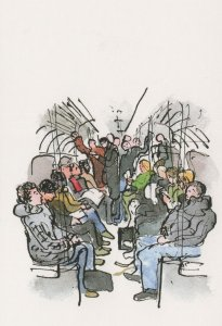 Northern Line Tube Train Passengers London Painting Postcard