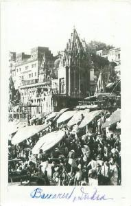 Banares Varanasi India,1954 Real Photo Postcard Hindus Bathing in River Ganges