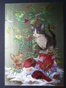 Pussy Cat KITTENS & CHRISTMAS HOLLY c1980's by F J Warren DUFEX FOIL Postcard