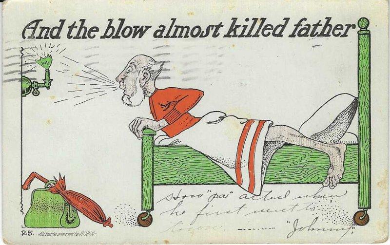 Vtg 1906 Funny Comical Father Cartoon Postcard