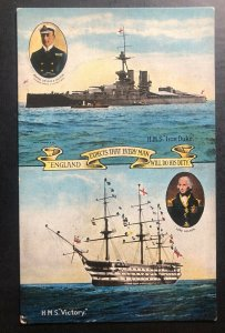 Mint England Color Picture Postcard HMS Iron Duke Battleship Royal Navy