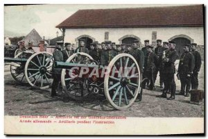 Postcard Old Army German Army Artillery during & # 39instruction