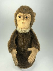 Early Steiff Jocko The Monkey Mohair Hand Puppet w/ Glass Eyes 1920s Antique