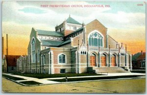 Indianapolis, IN Postcard First Presbyterian Church Street View c1910s Unused
