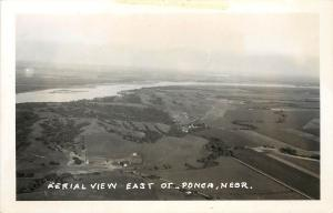 c1950 Real Photo Postcard Air View East of Ponca NE Dixon County Unposted
