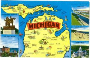 Michigan Map Card, The Waters Wonderland, pre-zip Code Chrome