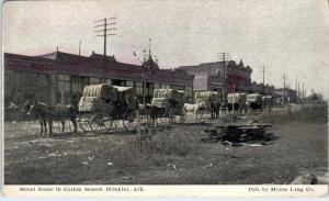 BRINKLEY, AR Arkansas  Street Scene  WAGONS Loaded with COTTON  c1910s  Postcard