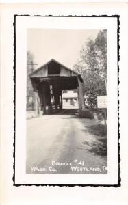 D54/ Westland Pennsylvania Pa Real Photo RPPC Postcard c1950s Covered Bridge