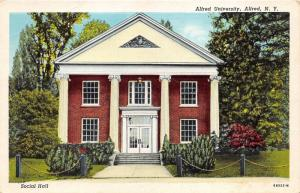 Alfred New York~Alfred University Social Hall~Greek Ionic Columns in Front~1948