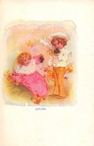 Greetings Autumn Children Grapes and Leaves Maud Humphrey Postcard J77497