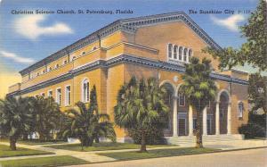 St Petersburg Florida~Christian Science Church~1940s Linen Postcard
