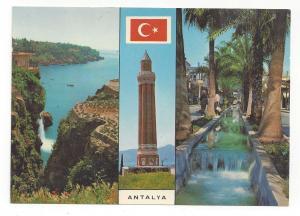 Turkey Antalya Yivli Gooved Minaret Women Cliff Vintage Multiview Postcard 4X6