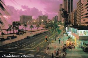 Hawaii Honolulu Sunset On Kalakaua Avenue