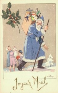 Blue Santa Claus Postcard Artist Signed 04.02