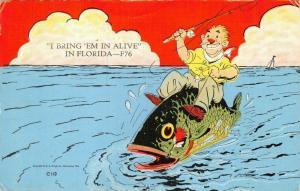 I BRING 'EM IN ALIVE IN FLORIDA-MAN RIDING FISH POSTCARD