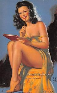 Notes to You, Earl Moran 1945 Mutoscope Artist Pin Up Girl, Non Postcard Back...