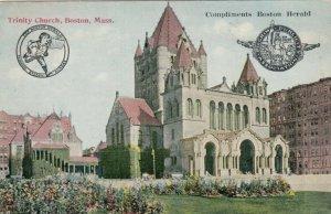 BOSTON , Massachusetts, 1900-10s ; Trinity Church ; Boston Herald Newspaper card