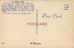 EL CASTELL MOTEL, MONTEREY, CALIF. Mr and Mrs James Tevini, Owners
