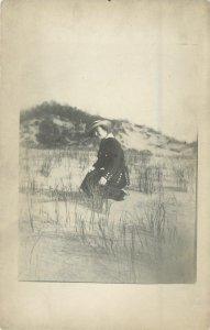 Vintage Real Photo Postcard~Overdressed Lady Kneeling in Desert Sands~1915 RPPC