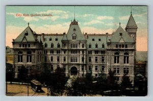 City Hall, Vintage Quebec Canada Postcard