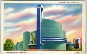 1939 New York World's Fair Expo Postcard Electrical Products Building Linen