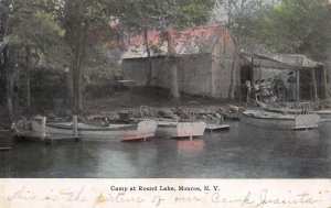 Camps at Round Lake, Monroe, New York, Early Hand Colored Postcard, Used in 1911