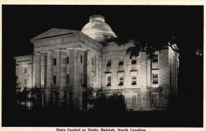 Raleigh, North Carolina, NC, State Capitol at Night, 1943 Vintage Postcard g781