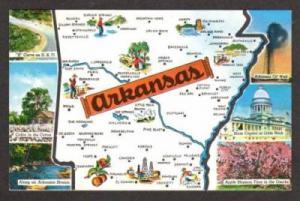 AR State Map ARKANSAS Postcard PC Ozarks Little Rock