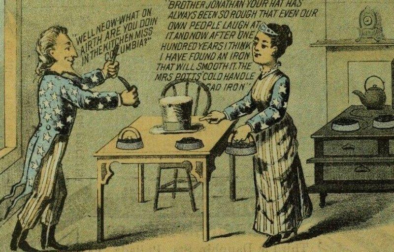 1876 Uncle Sam Miss Columbia Mrs. Potts Sad Iron Comic Victorian Trade Card P31