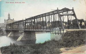 Napoleon Ohio~Maumee River Bridge~City Skyline in Background~c1910 Postcard
