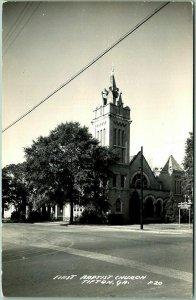 TIFTON, Georgia RPPC Real Photo Postcard FIRST BAPTIST CHURCH Street View c1940s