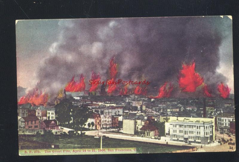 SAN FRANCISCO CALIFORNIA 1906 EARTHQUAKE DISASTER CITY ON FIRE OLD POSTCARD