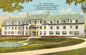 Greeley Colorado State College Snyder Hall Antique Postcard K105939