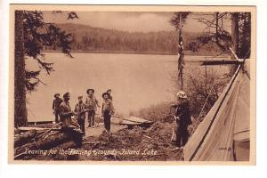 Leaving for the Fishing Grounds, Island Lake, Manitoba, Men Outside Tent, Sepia