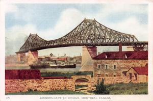 Jacques Cartier Bridge, Montreal, Quebec, Canada, Early Postcard, Unused
