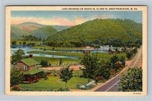 Princeton WV, Bird's Eye, Lake Shawnee, Log Homes Linen West Virginia Postcard