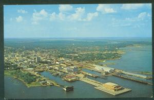 AERIAL VIEW Pensacola Florida MUNICIPAL PIER Civic Auditorium Postcard