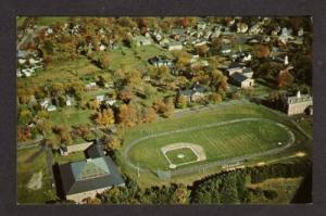 ME Aerial View Football Baseball Stadium Gould Academy Bethel Maine Postcard PC