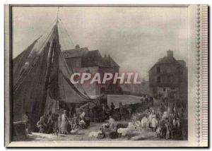 Old Postcard Honfleur Harbor Palace of Fine Arts in the city of Paris Leprince