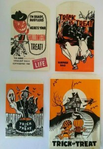 Vintage Halloween Candy Goodie Bags Cowboy Goblin 1960 Skeletons Witches Ghosts
