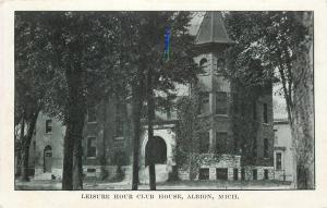 Albion Michigan~Leisure Hour Club House~Nice Turret~1906 B&W Postcard
