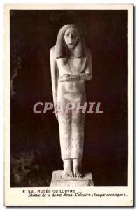 Old Postcard Musee Du Louvre Ststaue From The Lady Nesa Limestone Egypt