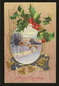 Postmarked 1911 Chicago Ill A Merry Christmas Embossed Color Postcard
