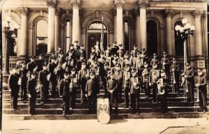 RPPC Salvation Army Band in Front of Beaux Arts Courthouse~Symbol on Drum~c1925