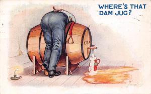 Comic Man Barrel Where's that dam Jug? Signed 1923