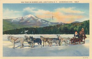 Dog Team Sled on Mirror Lake Lake Placid NY Adirondacks New York pm 1953 - Linen