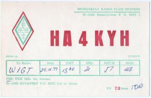 QSL, HA4KYH, Dunaújváros, Hungary, 1977